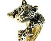 Leopard Emerald Green Rhinestone Wrap Gold Brass Ring