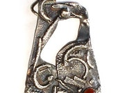 Sterling Silver Hand Forged Pendant Lucky Horseshoe with Baltic Amber