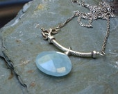Blue Chrysophrase necklace blue briolette fine silver Nacklace