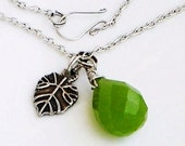 Peridot with Sterling Silver Leaf Necklace Patrick's Day Jewelry