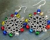 Snowflake Earrings Sterling Silver Christmas Multicolor Earrings