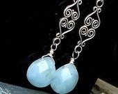 Chrysoprase Earrings Ornate Filigree Sterling Silver Dangle earrings