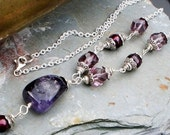 Amethyst and Freshwater Pearl Necklace, Hill tribe silver February birthstone
