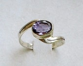 Amethyst Ring in Sterling Silver February Birthday Engagement Ring