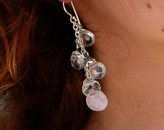 Aquamarine & Pink Quartz Earrings Fine Silver Flower Dangle Earrings