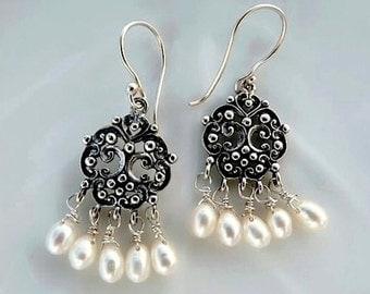 Freshwater Pearl Earrings Chandelier Filigree Sterling Silver Dangle Wedding earrings