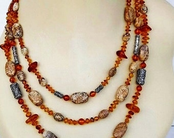 Baltic Amber and Picture Jasper Necklace Triple Strand Bali Sterling Silver Gemstone Necklace