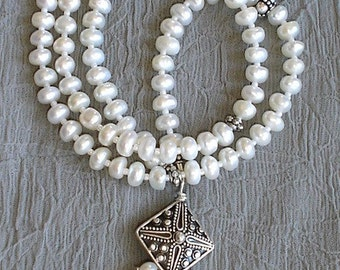 White Freshwater Pearl Necklace with Bali Sterling Silver