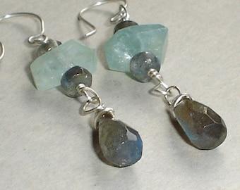 Aquamarine and Labradorite Earrings Sterling Silver Wire Wrap Drop earrings