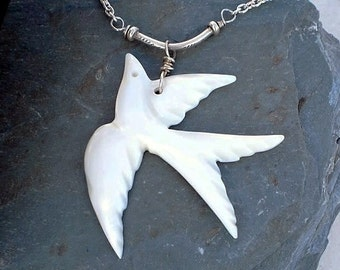 Bird Necklace Mother of Pearl Fine Silver Swallow bird Chain Necklace