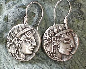 Athena Antique Silver Earrings Greek mytholody Sterling Silver earrings