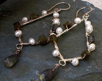 Labradorite with Freshwater Pearl Earrings Sterling Silver Chandelier Wire wrapped Dangle Earrings