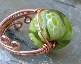 Millefiori Ring Green flower glass Antique copper Wire Wrap Ring  ,copper wire wrapped Millefiori Ring
