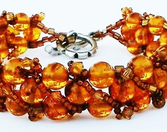 Baltic Amber Bracelet Hand Beaded woven with Swarovski Crystal Bracelet