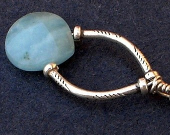 Blue Chrysoprase Charm Necklace Fine Silver Chain Nackalce