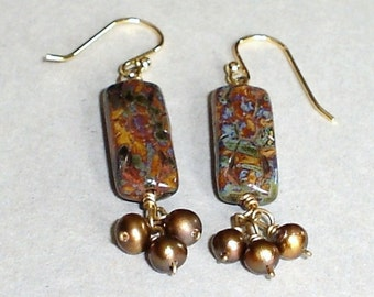 Czech Glass Picasso Earring Golden bown Freashwater Pearl Wire Wrapped Gold Fill  Earrings
