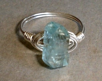 Aquamarine  Ring Faceted Gemstone Sterling Silver Wire Wrapped Aquamarine ring