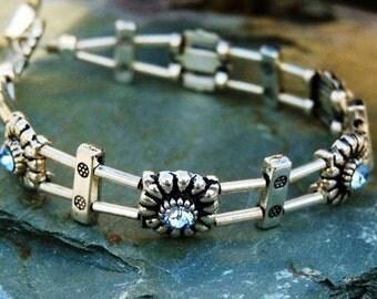 Blue Topaz Bracelet Sterling Silver Swarovski Crystal Double string Bracelet