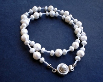 Wedding Pearl Necklace Bridesmaid Gift Natural White Freshwater Pearl and Earrings Set