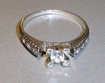 Antique Engagement Ring European Cut Diamond Sterling Silver Diamond Ring