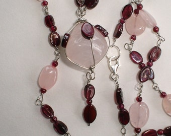 Rose Quartz and Garnet necklace Sterling Silver wire wrap