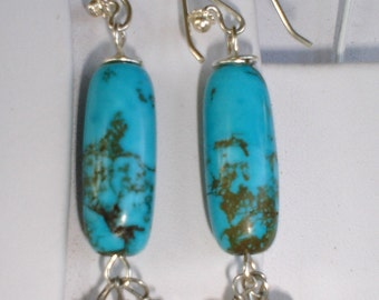 Turquoise Matrix Earring with  Citrine Native American Sterling silver dangle earrings