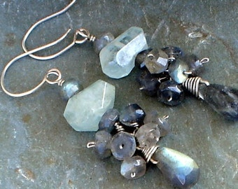 Nugget Blue Aquamarine Earrings, Faceted Labradorite Briolettes Sterling Silver Earrings