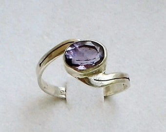 Antique 1930s Amethyst ring  Sterling silver Art Deco Engagement ring
