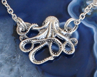 Octopus Necklace Silver Chain Nautical Tentacles  Octopus Pendant