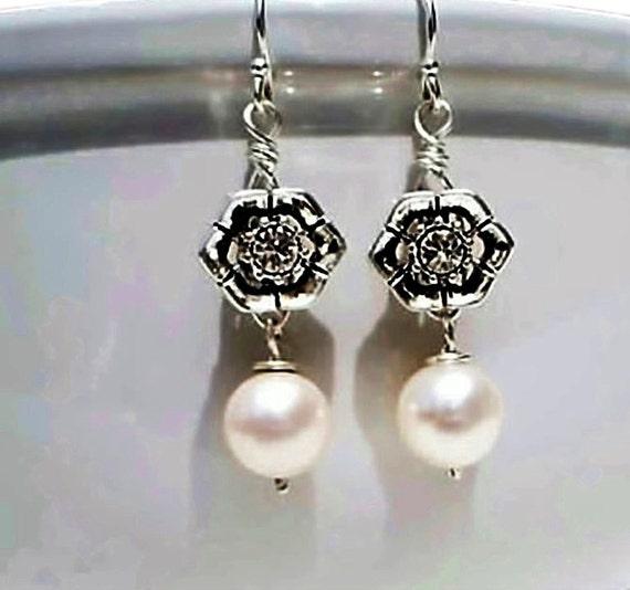 Pearl Earrings Swarovski crystal Sterling silver Bridesmaid Jewelry Bidal Wedding