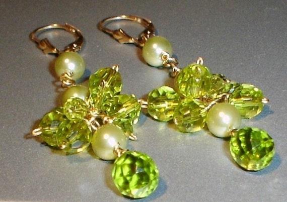 Long Earrings Green Peridot and Mother of Pearls Chandeliers 14K Gold Filled Cascade Earrings