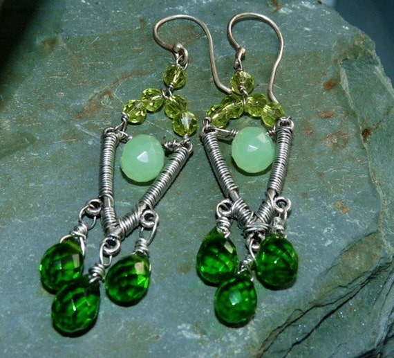 Emerald and Prehnite Earring Chandeliers Sterling Silver Wire Wrapped Earrings