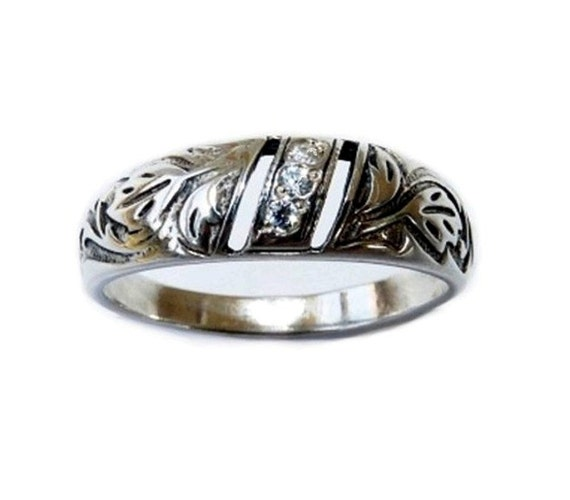 Band Ring Diamond Engraved Leaf Sterling Silver Wedding Band Ring