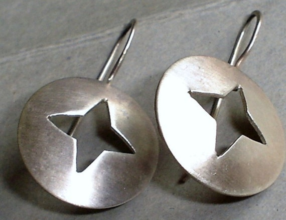 Hand Cut Domed Disc Silver Star Sterling Silver Earrings