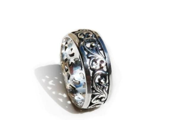 Band Ring Ornate Filigree Sterling Silver Wedding ring
