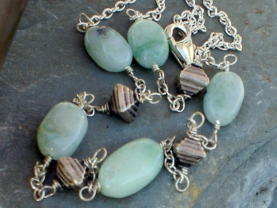 Chrysoprase Necklace with Sterling Silver Egyptian Pyramids Nacklace