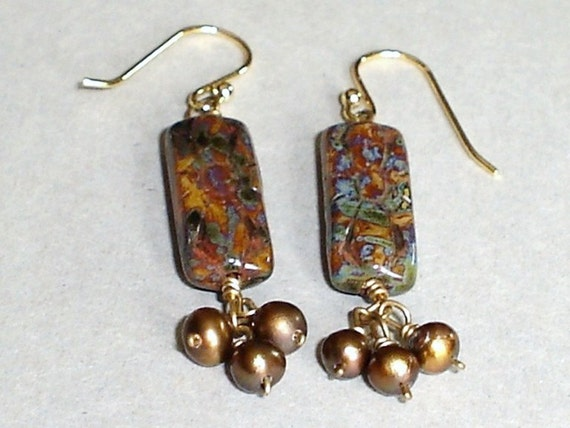 Czech Glass Picasso Earring Golden bown Pearl Wire Wrapped Gold Fill  Earrings