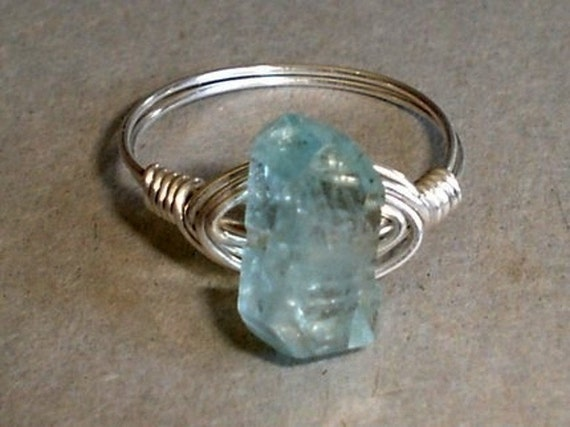 Aquamarine  Ring Icy Blue Faceted Nugget Sterling Silver Wire Wrapped Aquamarine