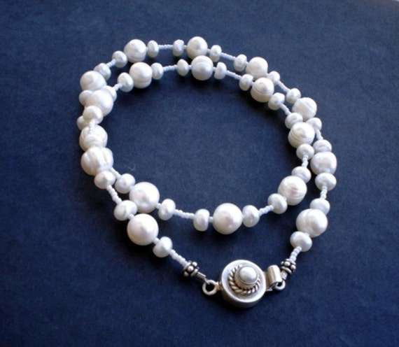 White Freshwater pearl Necklace and Earrings Set Sterling Silver Wedding