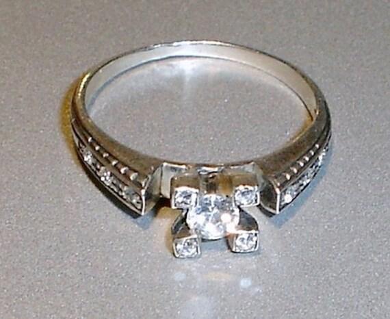 Antique Engagement Ring European Cut Diamond Sterling Silver Diamond Ring