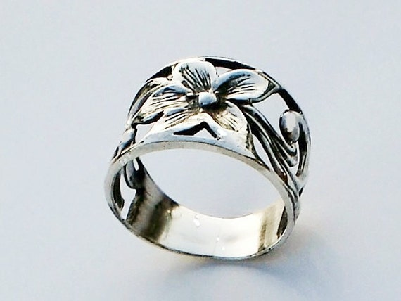 Band Ring Flower Filligree Sterling Silver Wdding ring