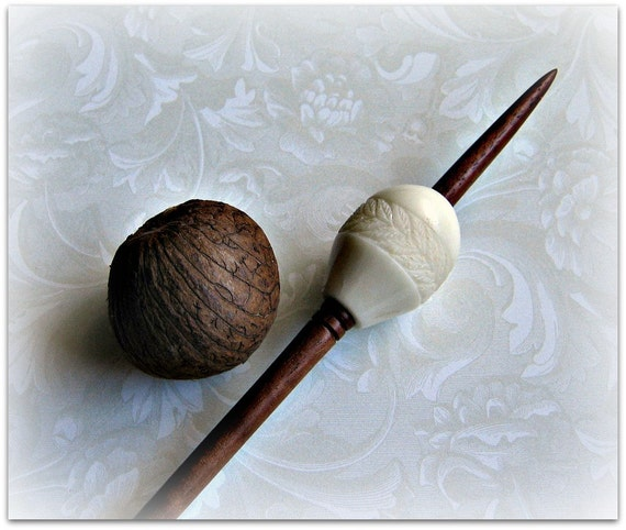 Carved tagua nut and walnut bead support by grizzlymountainarts