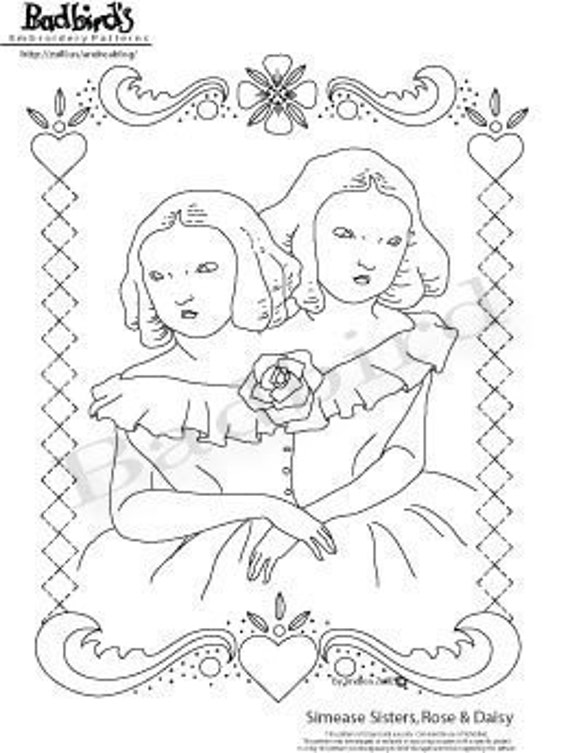 Siamese Sisters, Rose and Daisy  Embroidery Pattern