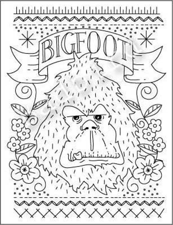 Bigfoot Hand Embroidery Sampler Pattern
