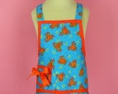 Childs Apron in Tangerine Flowers