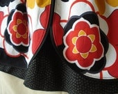 Red, Yellow, & Black Floral Layered Skirt, Size 5T. Plus Free Hair-tie
