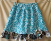 Blue, Multicolored Ruffled Girls Skirt Size 6T with Removable Flower Pin