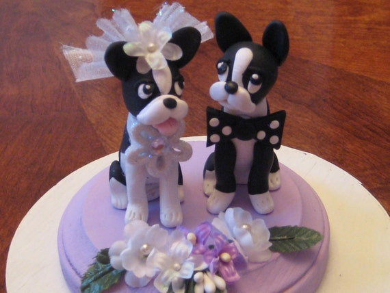 I only have eyes for you.. handsculpted clay Boston Terrier Dogs Bride and Groom  Wedding Cake topper, anniversary, shower, vow renewal