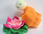 Amigurumi Crochet Pattern Monk Lotus Flower Crochet Pattern PDF Instant Download Little Monk with his favourite Lotus Flower