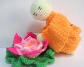 Amigurumi Crochet Pattern Monk Lotus Flower Crochet Pattern PDF Instant Download Little Monk with his favourite Lotus Flower